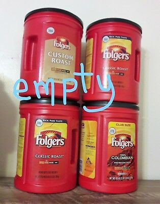Empty Folgers Coffee Plastic Cans 48oz Containers Lids Organize Storage Lot Of 4