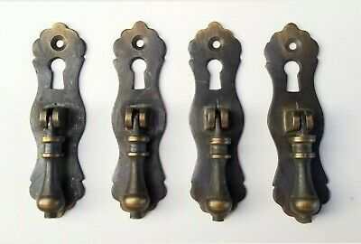 2 Antique Teardrop Pendant Br Vertical Handles Drawer Pulls Scalloped H2