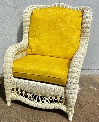 Ethan Allen Replacement Cushions For Wicker Rattan Chair 2 Pc Set