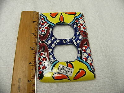 Talavera Double Outlet Switch Plate Cover Hand Painted Made In Mexico