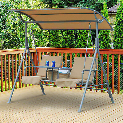 Garden Swing Chair 2 Seater Hammock Patio Outdoor Canopy Cushion Drink Tray